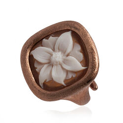 Diluca ring rosé mat zilver camee bloem