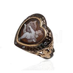Gezwart zilver ring verguld met Camee Engel Diluca