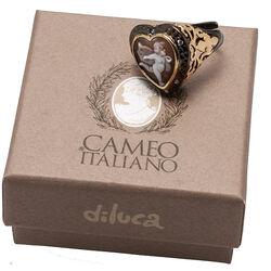 Gezwart zilver ring met vergulde scheen camee engel Diluca