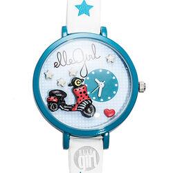 Wit Blauw horloge voor meisjes met scooter Elle Girl