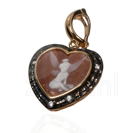 verguld zilveren hanger camee hart met fee van Diluca Cameo Italiano