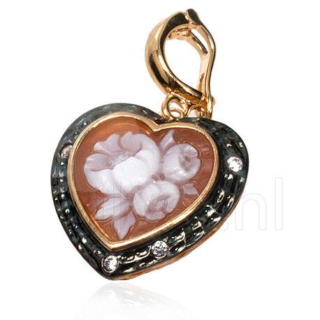 Verguld zilver gezwart camee hart met bloem Diluca