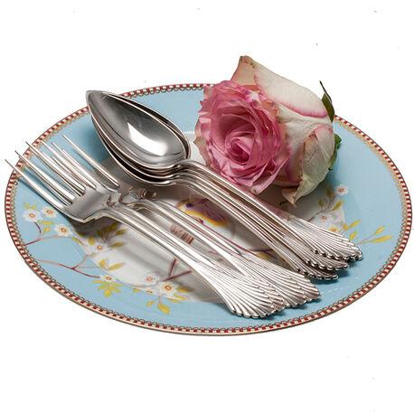 4 zilveren dessertcouverts model waaier