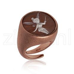 Gematteerd roséverguld zilver ring Camee Tinkerbel Diluca