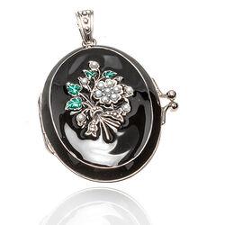 Zilveren Hanger Medaillon Smaragd