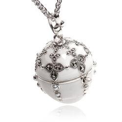 Zilveren Hanger Ei Wit Emaille