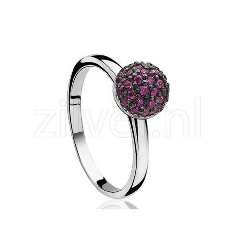 Zilver ring met bolletje Robijn zirkonia ZIR915r zinzi