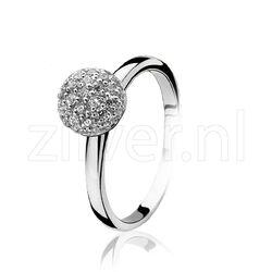 Zilver ring met zirkonia bolletje ZIR915 Zinzi
