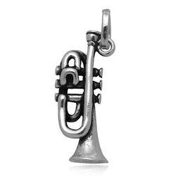 Zilveren raspini hanger of bedel Trompet