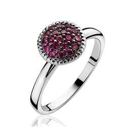Zilveren ring met bolletje robijn ZIR930r