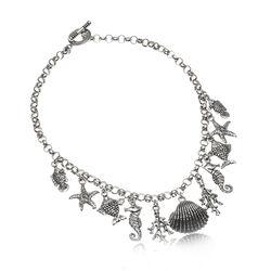 Zilveren bedelketting zeebedels van Raspini
