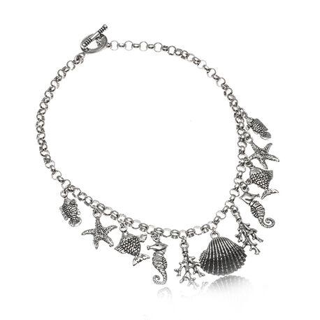 Zilveren bedel collier met zee bedels Raspini