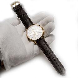 Donkerbruin leren horloge stalen kast Edox