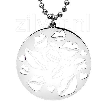 Zilveren hanger met kusjes ZIH952 Zinzi