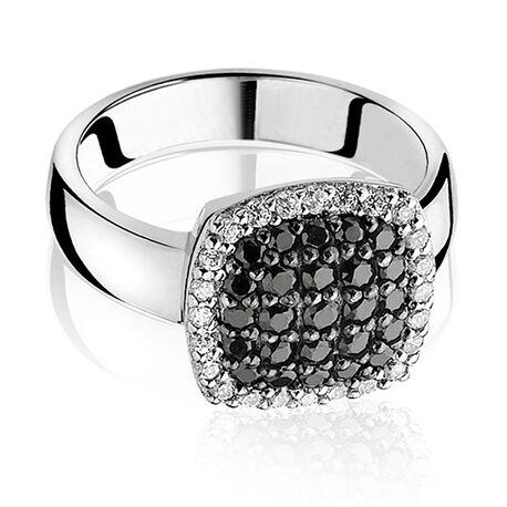 Zinzi Ring Zwart Wit Zirkonia Zir887