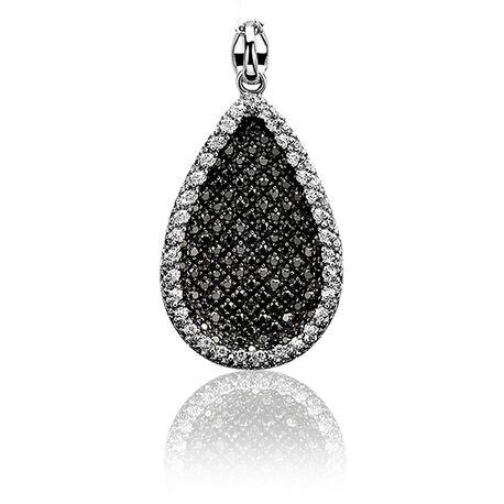 Zilver druppel hanger zwart wit zirkonia Zih963 Zinzi