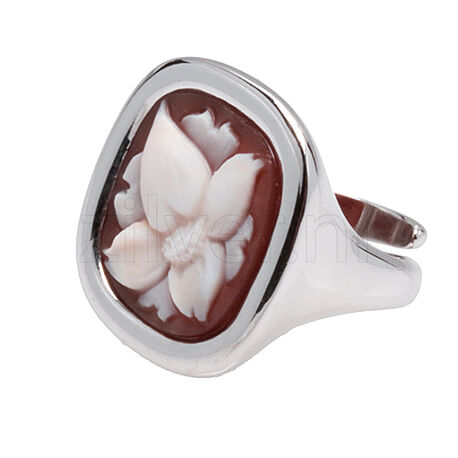Zilveren ring schelpcamee bloem diluca