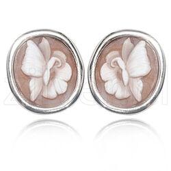 Diluca zilver oorbellen camee vlinder