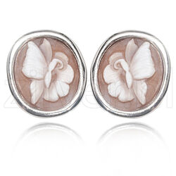 Diluca Zilveren Oorstekers Camee vlinder