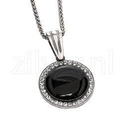 Gl Collier Met Hanger Onyx Swarovski Kristal