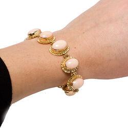 Gouden armband met roze bloedkoraal en peau d'ange Mario Scognamiglio