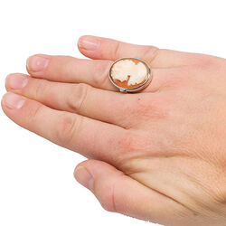 Zilveren ring schelpcamee dame Mario Scognamiglio