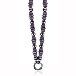 Zilver ketting paars cat eye beads zic931p Zinzi