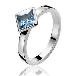 Zilver ring blauw zirkonia ruit ZIR443 zinzi
