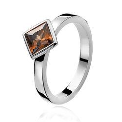 Zilver ring bruin zirkonia ZIR444 Zinzi