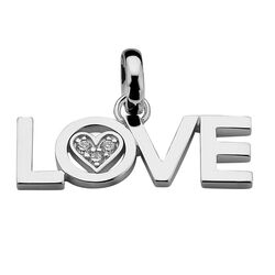 Zilveren hanger LOVE hartje met zirkonia Loveh09 Zinzi All you need is love