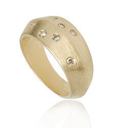 Occasion geelgouden matte ring met 7 briljanten