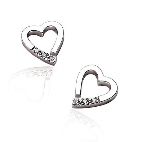 Zilveren oorstekers hart met diamant