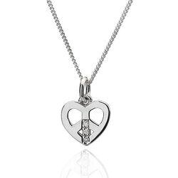 Zilver collier met hartje met diamantje Hot Diamonds Love and Peace
