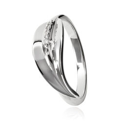 Zilveren ring bladvorm met diamantjes Hot Diamonds