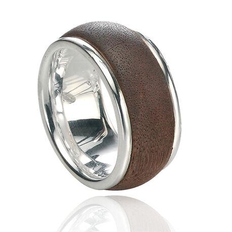 Zilveren ring met hout voor mannen