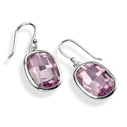 Elements zilveren oorhangers zirkonia roze