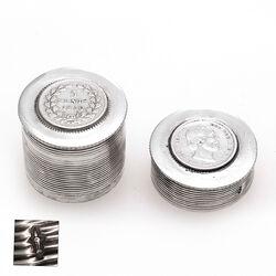 zilveren muntendoosje met fijn ribpatroon