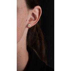 Zilveren oorbellen geel emaille bloem met diamant