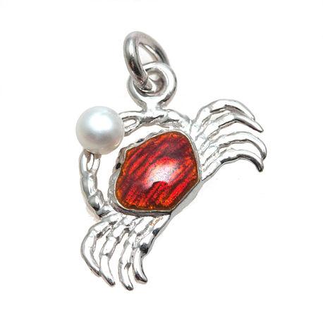 Zilveren charms met rood emaille krab met parel