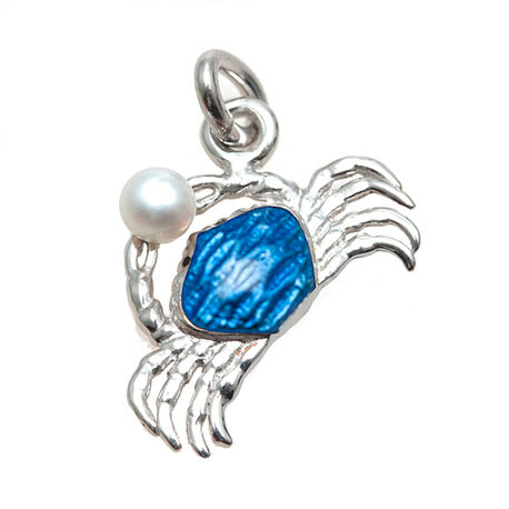 zilveren bedel blauwe krab met parel NIcole Barr