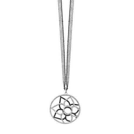 Silver Rose Hanger Zwart Wit Zirkonia