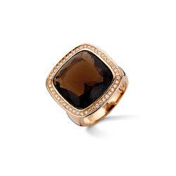 Silver Rose Ring Bruin Wit Zirkonia