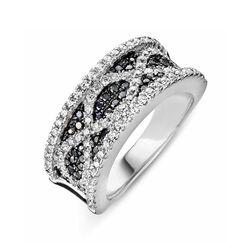 Zilver ring zwart en wit zirkonia Silver Rose