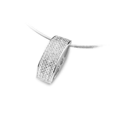zilver omegacollier met hanger zirkonia Silver Rose