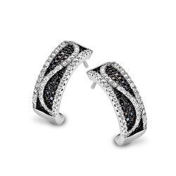 Silver Rose oorstekers zwart wit zirkonia