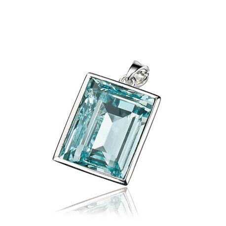 Zilver hanger blauw swarovski kristal Elements