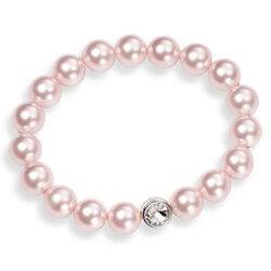 Elements Rekarmband Roze Crystal Parels Zilver