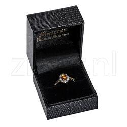 Gouden ring met citrien en roosdiamant