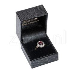 Gouden ring met granaat en roosdiamant