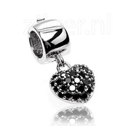 Side Click On charms harthanger zwart zirkonia